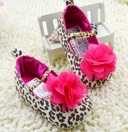 Wholesale Cheap Toddler Flower Girl Shoes - Beautiful large flowers baby shoes. Leopard girl toddler shoes. Cheap soft-soled shoes.Kids square mouth shoes.sale.baby wear.5pair 10pcs CL