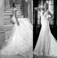 Trumpet/Mermaid Reference Images V-Neck ONE LOVE BY BIEN SAVVY 2014 New Sexy Deep V-Neck Illusion Back Wedding Dresses Tulle Lace Applique Mermaid Wedding Gowns Cap Bridal Dress