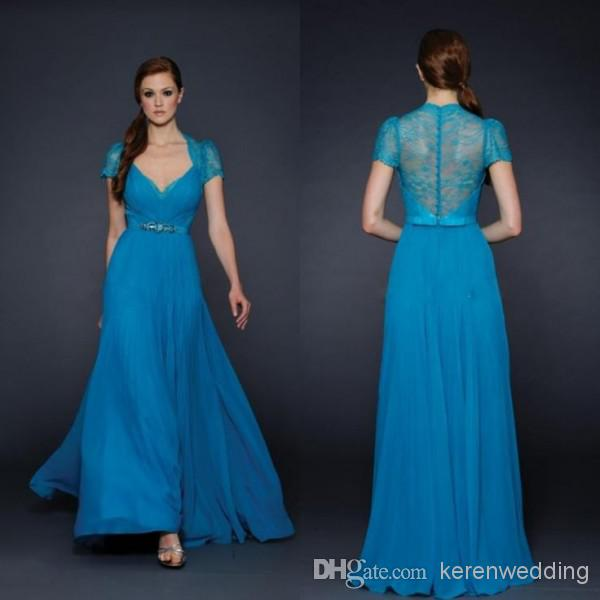 Bh Charming New Fashion 2014 Bridesmaid Dress Blue V Neck With ...