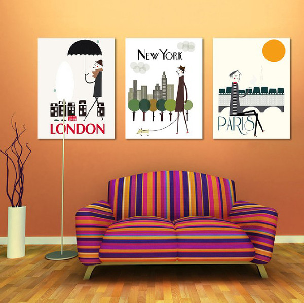 top popular 3 Piece Free Shipping Hot Sell Modern Wall Painting Home Decorative Art Picture Paint on Canvas Prints London, New York and Paris LIFE 2019