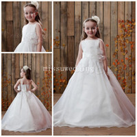 Wholesale Long Pageant Gowns Size 3t - Summer 2014 Top selling Spaghtti Straps Ball gown Brush Organza beads Backless Long flower girl dresses Plus size Pageant dress
