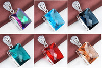 Wholesale Ruby Sterling Pendant - 2015 Limited Ruby Jewelry Gemstone Jewelry Pendant Colares 6 Color 925 Sterling Silver Mystoc Topaz Green Quartz Gemstone Rectangle Pendant
