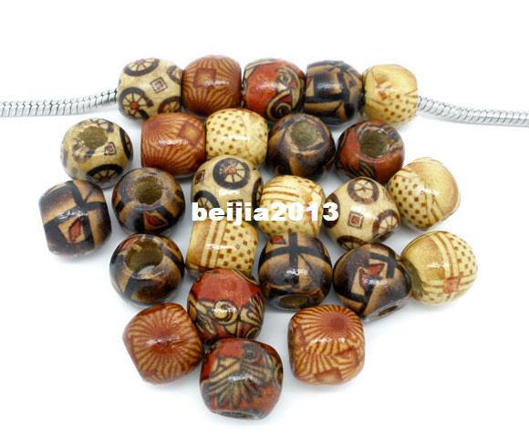 Free Shipping 100pcs Mixed Painted Drum Wood Beads Fits Charm Bracelet 11x12mm jewelry finding DIY making