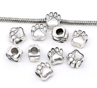 Wholesale antiques free shipping - Free Shipping 20pcs Antique Silver Tone Bear's Paw Charm Beads Fit European Charm Bracelet 11x11mm