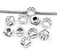 oso pata encanto de plata al por mayor-Envío Gratis 20 unids Antique Silver Tone Bear's Paw Charm Beads Fit Pulsera Europea Del Encanto 11x11mm