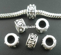 Wholesale Metal Tube Spacer - Free Shipping 50pcs Antique Silver Tone Swirl Eye Tube Spacer Beads Fits European Charm Bracelet 8x5mm Jewelry Findings