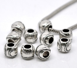 Wholesale Wholesale Round Metal Bead - Free Shipping 20pcs Antique Silver Tone Baseball   Softball Charm Beads Fits European Charm Bracelet 11x9mm Jewelry Findings