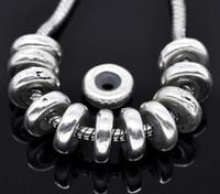 bilezik tıpa boncuklar toptan satış-Ücretsiz Kargo 40 adet Antik Gümüş Ton Stoper W / Kauçuk Boncuk Avrupa Charm Bilezik Uyar 11x3.5mm Takı Bulguları