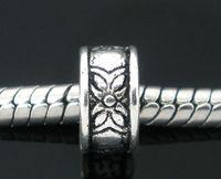 schmuck findet blumen groihandel-Freies Verschiffen 200pcs antike silberne Ton-Blumen-Ring-Distanzscheiben-Korne passt europäische Charme-Armband 8mm Schmucksache-Entdeckungen