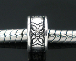 Wholesale Free Shipping 200pcs Antique Silver Tone Flower Ring Spacer Beads Fits European Charm Bracelet 8mm Jewelry Findings