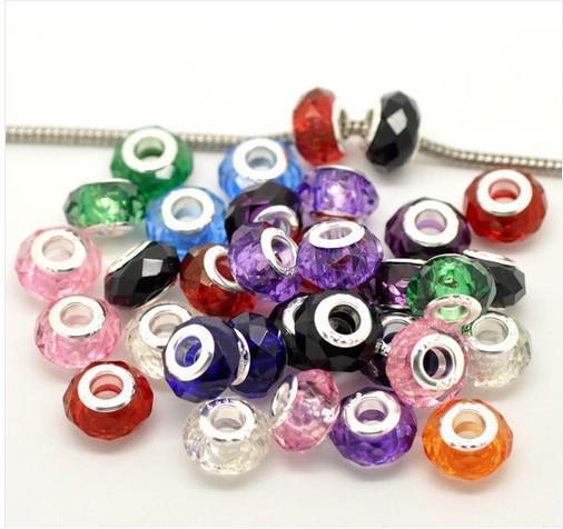 perles de verre de cristal mélangées aléatoires estampées 925 Sterling Silver Core Fit Fit Charms Bracelet 14x9mm Bijoux Fabrication