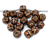 Wholesale painted beads round - Free Shipping 100pcs Coffee Color Painted Drum Wood Beads Fits Charm Bracelet 11x12mm jewelry making DIY findings J0889