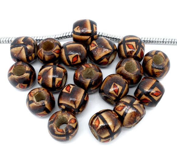 top popular Free Shipping 100pcs Coffee Color Painted Drum Wood Beads Fits Charm Bracelet 11x12mm jewelry making DIY findings J0889 2021