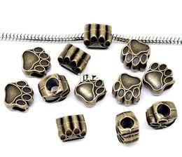 Wholesale Bead Bear - Free Shipping 20pcs Antique Bronze Tone Bear' Paw Charm Beads Fit European Charm Bracelet 11x11mm
