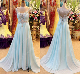 Wholesale luxurious evening dress gold - New Arrival Evening dresses Long Luxurious Crystal Beaded Chiffon Prom Dresses Evening Gown 2015 Custom Made fiesta dresses