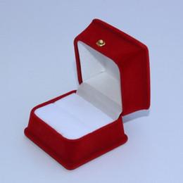Wholesale Velveteen Ring Boxes - Velvet ring Box, square shape, red & black color, Velveteen & plastic Display Box, 5.3*5.3*4.5cm, sold by lot(10pcs lot)