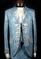 Wholesale Prince William - blue royal mens period costume Medieval Renaissance stage performance  Prince charming fairy tale William  civil war Colonial Belle stage