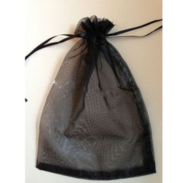 Wholesale Small Jewelry Gift Pouches - Black Packing Bag Jewelry Gift bags Organza Pouches with Ribbon drawstring small Poarl gauze bag cheap large Pearl gauze bags