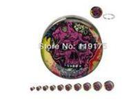 Wholesale Ear Plugs Piercing Skull - smbj120205401 high quality 2pcs 12MM hot sale skull logo ear plug 316L surgical steel ear tunnel piercing jewelry