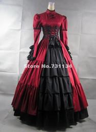 Mangas largas rojas Soporte del collar del arco del satén Vestidos históricos góticos victorianos Vestidos de fiesta renacentistas medievales del corsé para la venta al por mayor