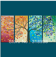 Wholesale Group Oil Paintings - Hand-painted 4 season tree abstract oil painting 4pcs set group painting Free shipping Sailing Art