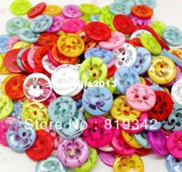 ücretsiz dikiş düğmeleri toptan satış-Ücretsiz Kargo 200 adet Karışık Şeffaf Çiçek 2 Delik Reçine Yuvarlak Düğmeler Fit Dikiş Veya Scrapbooking 14mm Knopf Bouton