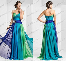 Wholesale Colorful Evening Dresses Long - 2016 Ombre Multi Colorful Chiffon Evening Dresses Strapless Sweetheart Neckline Zipper Backless Long Formal Party Gala Prom Gowns