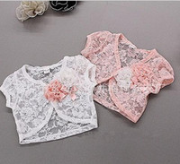 Wholesale 2014 girls stretch lace shawl Children s lace cardigan jacket Lace flower cardigan outwear