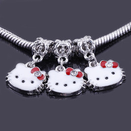 Wholesale Rhinestone Animal Spacer Beads - 50pcs Crystal Rhinestone Enamel antique silver Spacer Big Hole Beads Dangle Charm Beads fit European Jewelry Findings