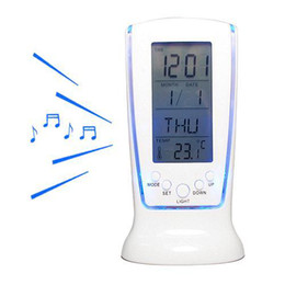 Wholesale Digital Thermometer Alarm Home Clock - S5Q Home Portable Digital Thermometer Calendar LCD Backlight Alarm Room Clock AAAARI