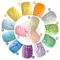pul bez bezleri toptan satış-Sıcak satış ucuz PUL Düz katı Renk Bebek Cep Bez Bebek Bezi 10 adet Bambu insert ile 10 adet kapak