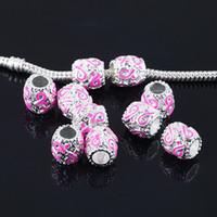 Wholesale Enamel Awareness Ribbons - 50pcs 9x9mm Enamel Pink Ribbon Breast Cancer Awareness Big Hole Beads Pendants fit European Jewelry Findings