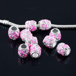 Wholesale Enamel Beads Big Hole - 50pcs 9x9mm Enamel Pink Ribbon Breast Cancer Awareness Big Hole Beads Pendants fit European Jewelry Findings