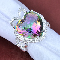 Wholesale Mystic Rainbow Rings - Valentine's Day for Lovers' Best gifts Love Heart Fire rainbow Natural Mystic Topaz 925 Silver Rings CR0175