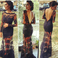 Wholesale Kim Kardashian Long Sleeve Dresses - 2016 Black Lace Backless Evening Gowns With Sheer Long Sleeves Inspired by Kim Kardashian Dresses Vestidos