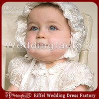 Wholesale Cute Lovely Beautiful Girls - Cheap High Quality Spring Lovely Christening Baby's Hat Cute Baptism Children's Bonnet Beautiful Lace Pattern with Ribbon