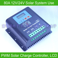 80A 12V-24V PWM Solar Charge Controller, с жидкокристаллическим дисплеем, напряжением и емкостью аккумулятора, HiQuality Display Charging for Off Grid