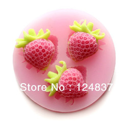 Wholesale Strawberries Soap Molds - 3D Mini Strawberries shape Silicone soap mold wedding party decoration cake molds Muffin case Jelly Ice Mould cupcake Fondant