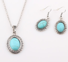 Wholesale Antique Russian Silver Jewelry - Antique Vintage Silver Turquoise Stone Pendant Necklace Earrings Jewelry Set Europe and Russian Hot Sell ZST16