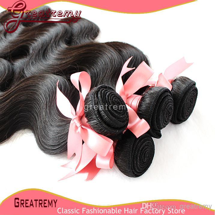 VERKOOP!! Koop 2 stks Ontvang Gratis 100% onbewerkte Braziliaanse menselijke hairbundles Body Wave Natural Color Virgin Hair Dyable / Greatremy