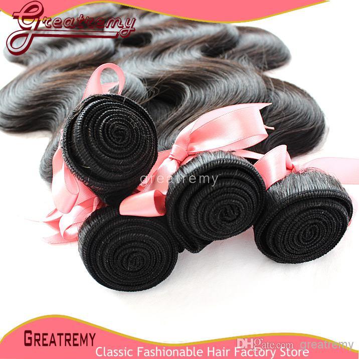 Försäljning !! Köp 2st få gratis 100% obearbetade brasilianska mänskliga frisyrar kroppsvåg naturlig färg jungfru hår färgbar / greatem