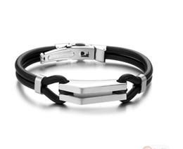 "$enCountryForm.capitalKeyWord Canada - Brand New Fashion Jewelry N522 Unisex Men Stainless Steel Rubber Silicone Bangle Bracelet Black Silve 8"""