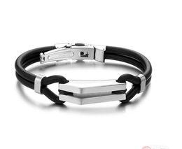 """collana di ambra nera Sconti Brand New Fashion Jewelry N522 Unisex Uomo in acciaio inox gomma braccialetto braccialetto in silicone nero Silve 8 """""""