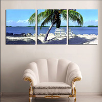 Wholesale Scenery Trees Painting - 3 Panel Modern Painting Home Decorative Art Picture Paint on Canvas Prints The seaside scenery, palm trees and comfortable beach chair