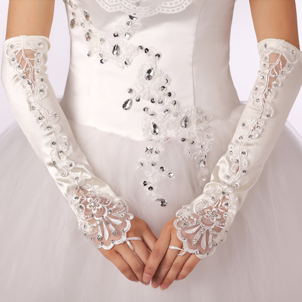 2015 Hote sale gloves Satin beaded bridal Ring Finger Fingerless gloves Crystal Above Elbow Length wedding gloves Free shipping New Year