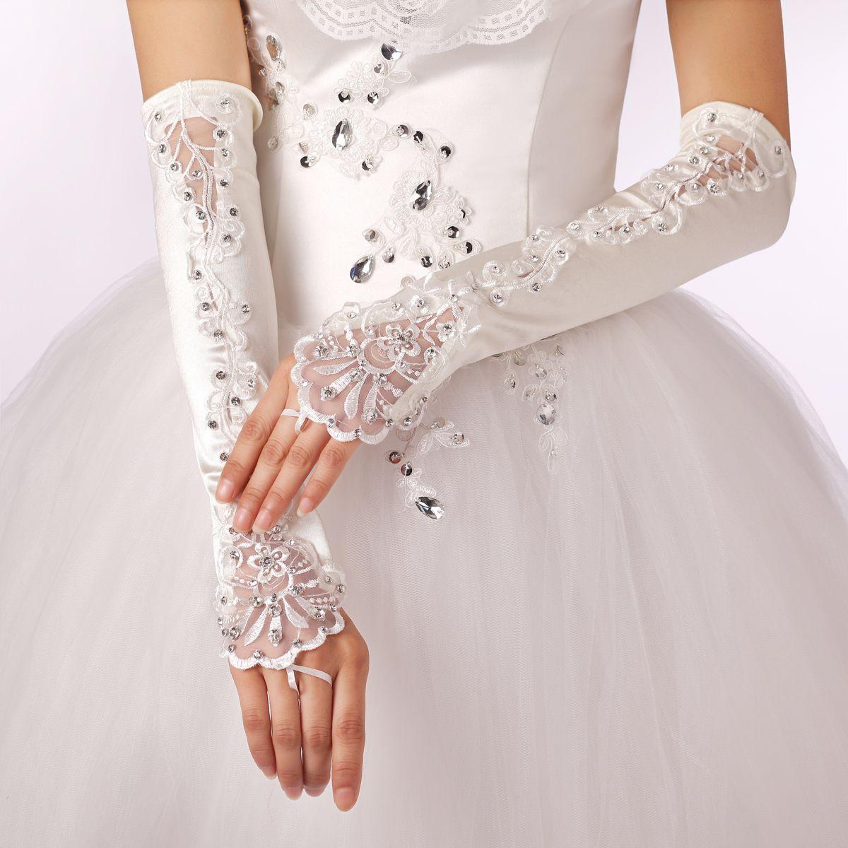 2015 Hote sale gloves Satin beaded bridal Ring Finger Fingerless gloves Crystal Above Elbow Length wedding gloves New Year