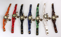 pulseira de pingente de borboleta relógios venda por atacado-Moda PU Couro Relógio de Pulso Pulseira Única RETRO Couro Relógio Borboleta Pingente de Jóias 10 pçslote Mix Cor