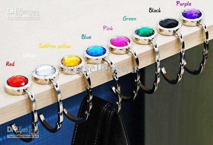 Fashion Portable Rock Crystal Mirror Folding Bag Hook Purse Hook Hanger Holder