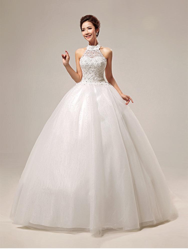 Discount Korean High Neck Halter Hollow Heart Shaped Lace Wedding ...