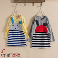 Wholesale Baby Girl Dress Pcs - fashion striped suspenders dress bunny tshirt for children striped t shirt dress baby girls dress t shirt 2 pcs set rabbit shirt kids